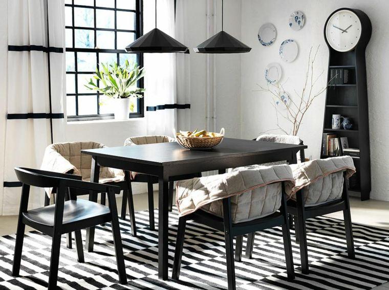 mesas y sillas de comedor-diseno-blanco-negro-decoraciones