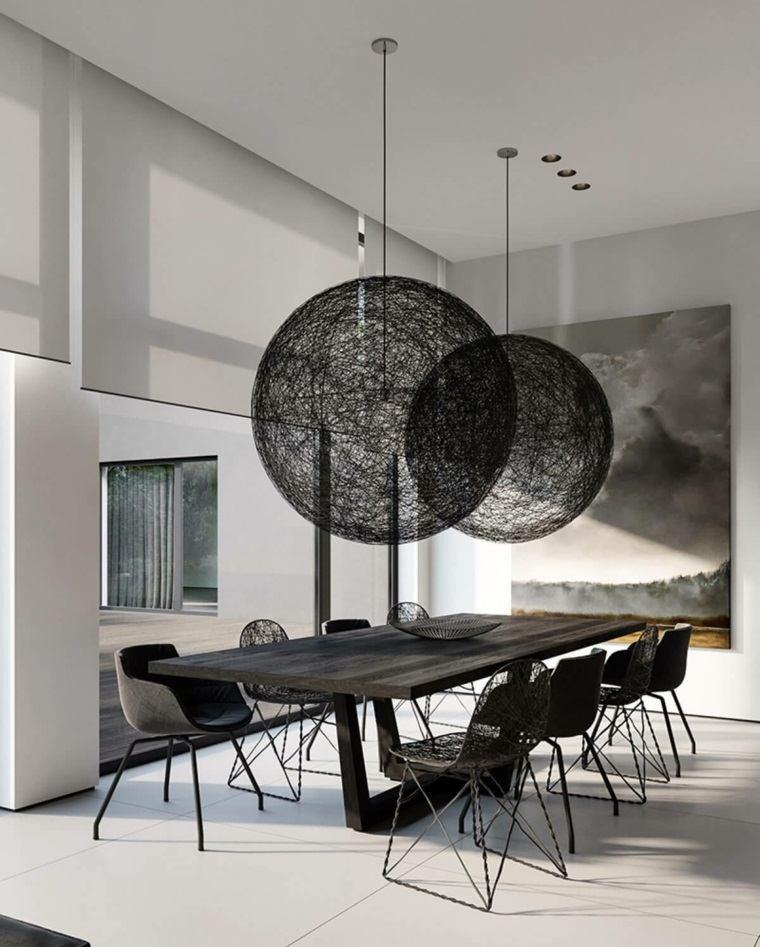 mesas y sillas de comedor diseno-blanco-negro-espacio-amplios