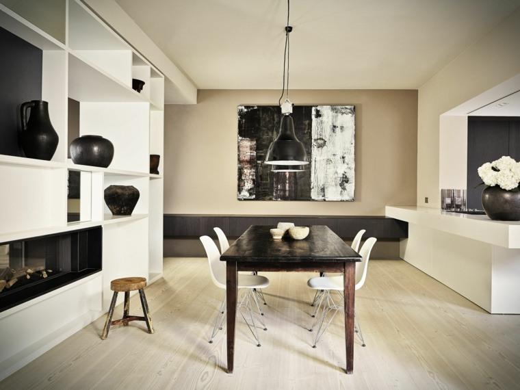 mesas y sillas de comedor diseno-blanco-negro-estilo-elegante