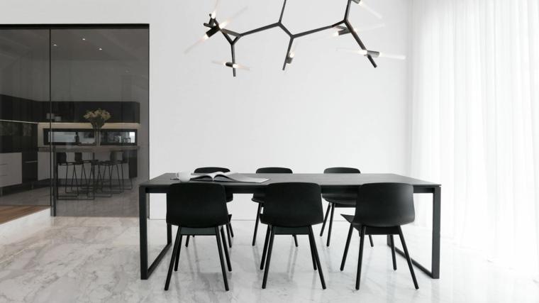 mesas y sillas de comedor-diseno-blanco-negro-estilo-simple