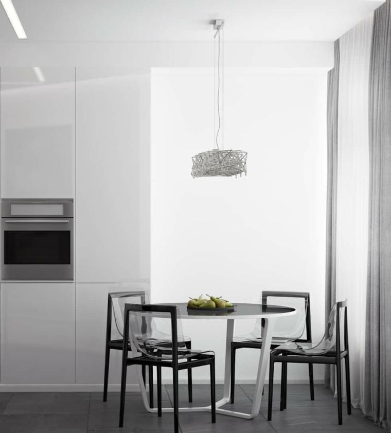 mesas y sillas de comedor-diseno-blanco-negro-estilo