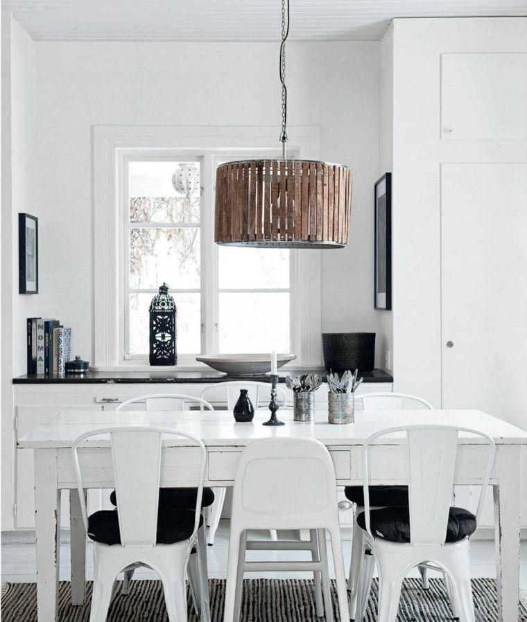 mesas y sillas de comedor-diseno-blanco-negro-lampara-destaca