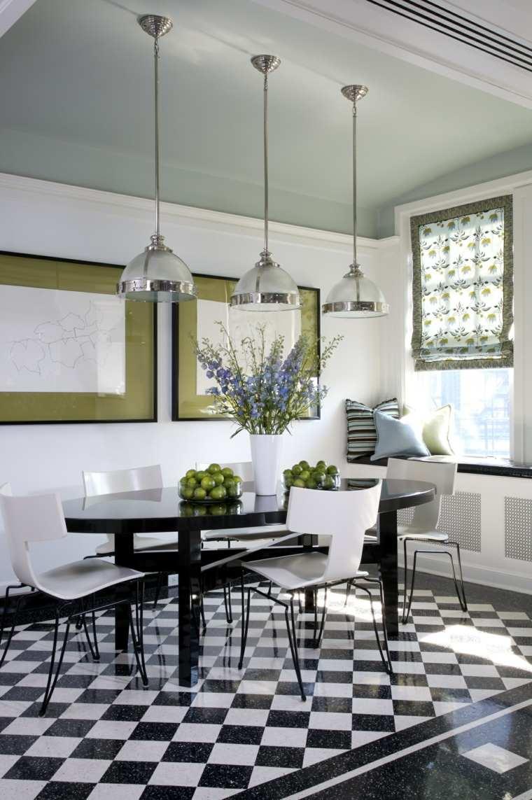 mesas y sillas de comedor-diseno-blanco-negro-losas-suelo-bello