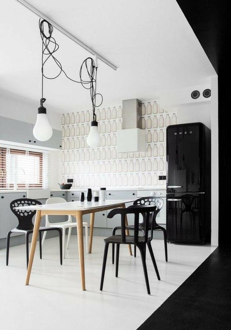 mesas y sillas de comedor-diseno-blanco-negro-opciones