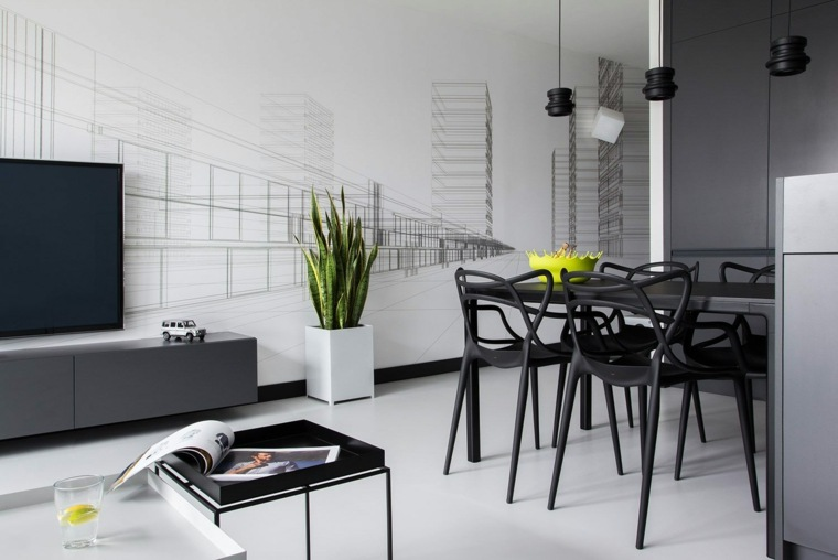 mesas y sillas de comedor-diseno-blanco-negro-salon-abierto