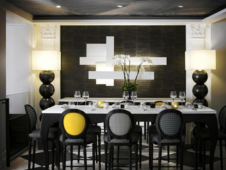 mesas y sillas de comedor-diseno-blanco-negro-sillas-estilo-original