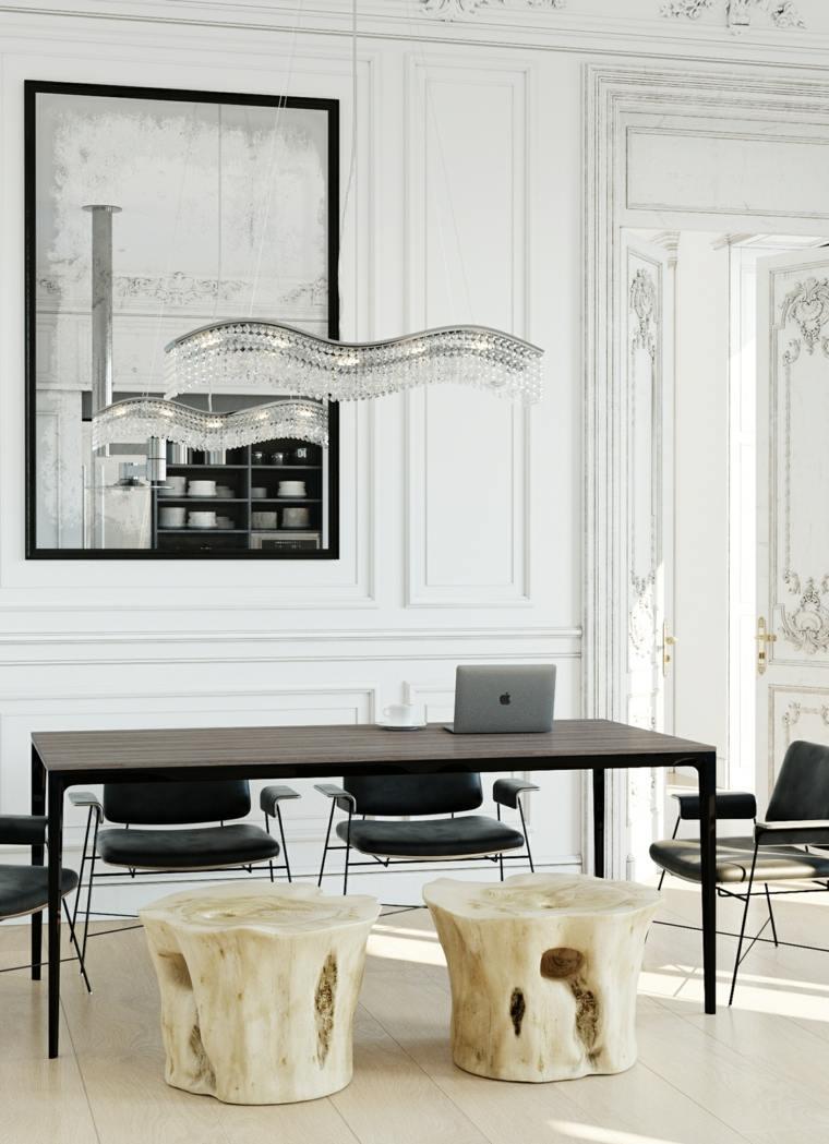 mesas y sillas de comedor-diseno-blanco-negro-taburetes-madera