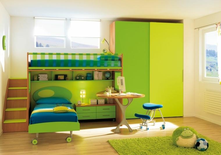 muebles-color-verde-habitacion-infantil-ninos-estilo-moderno