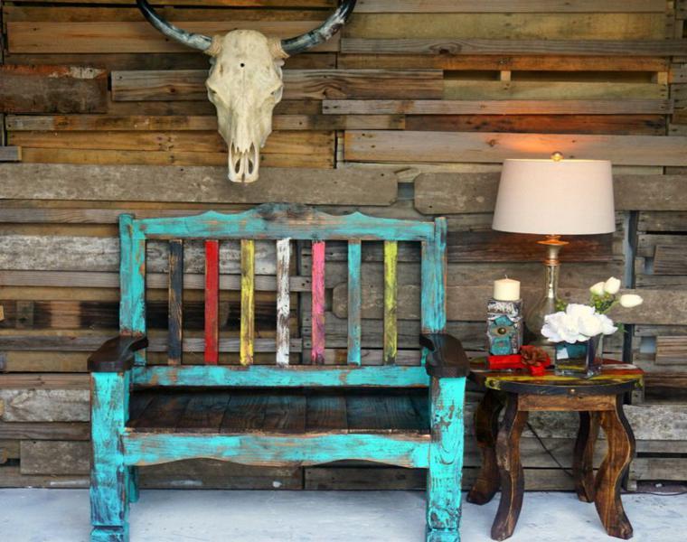 Muebles r sticos ideas de interiorismo con un aire - Bancos de madera rusticos ...