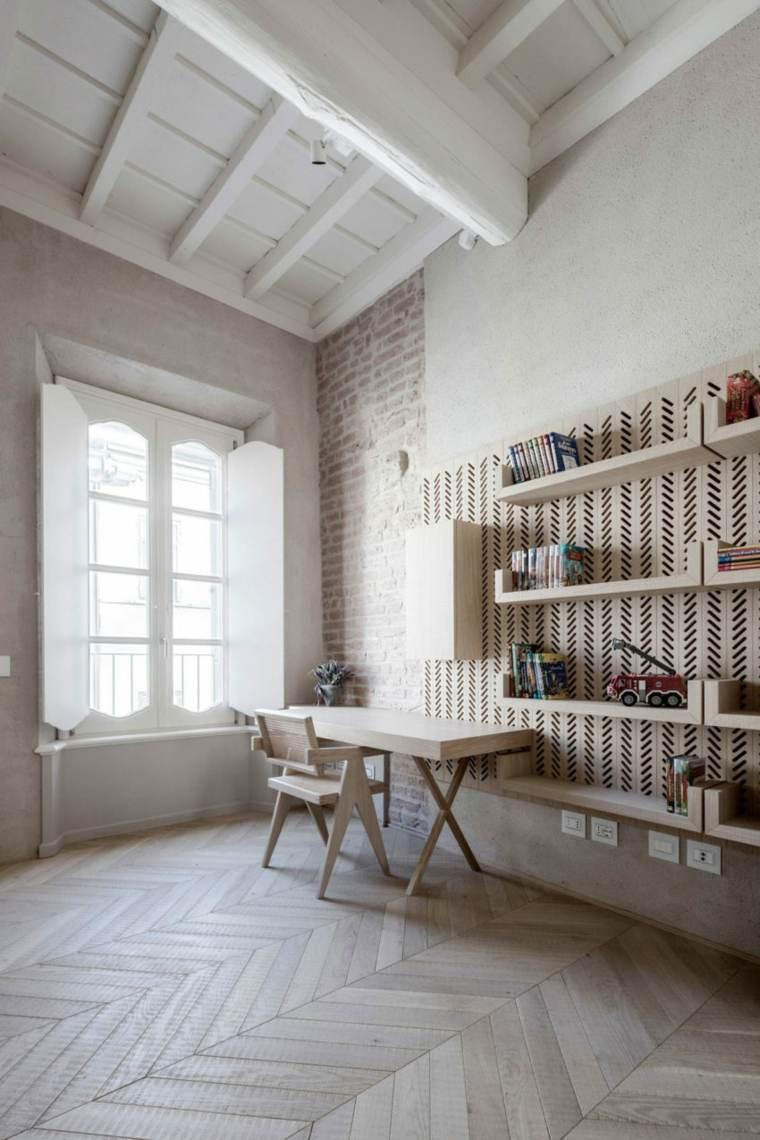 nuevo estilo-viejo-apartamento-escritorio-madera