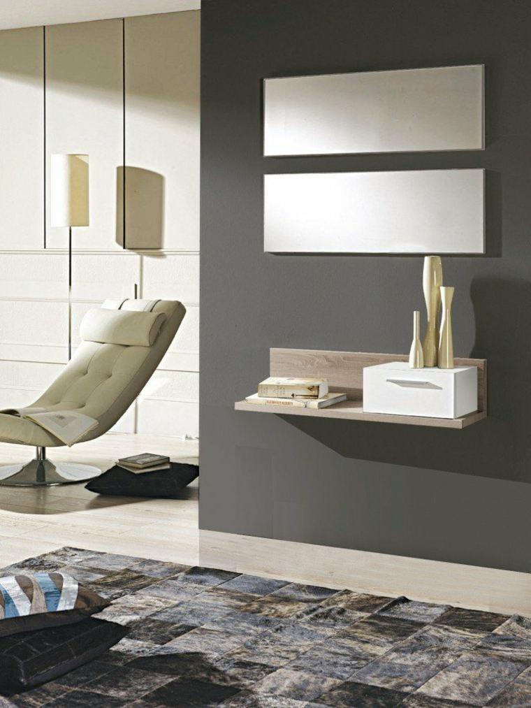 recibidores modernos alfombra-cuadros
