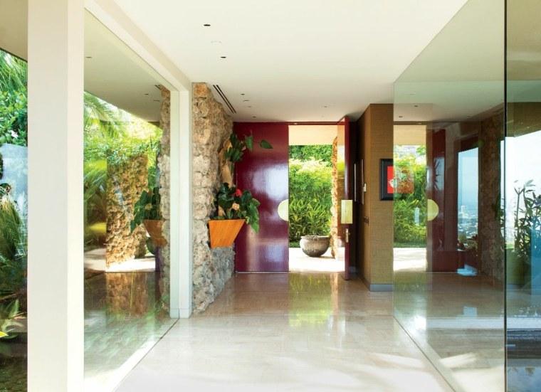 recibidores modernos rocas-paredes-rojo