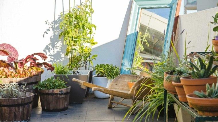 terraza-pequena-decoracion-plantas-macetas-espejo