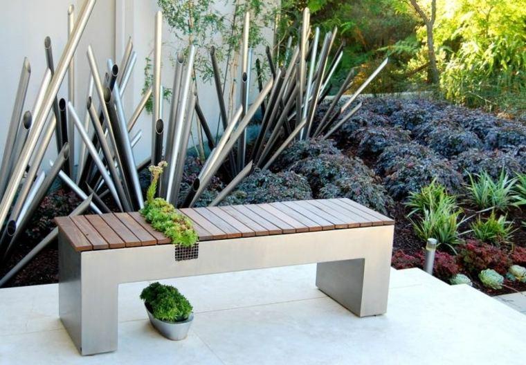 jardines esculturas tubos-colores-especales-metalicos-ideas