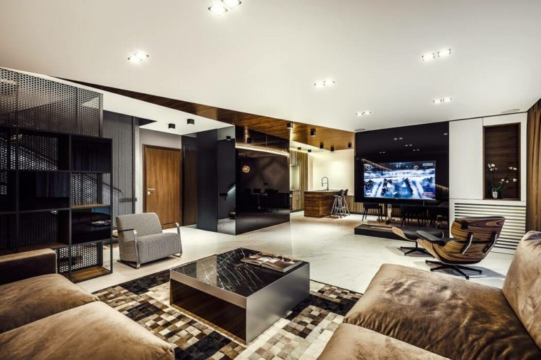 apartamento contemporaneo acabados-madera-cuero