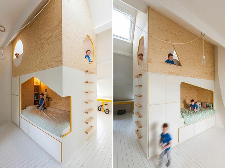 dormitorios infantiles base-colores-madera