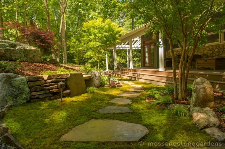 ideas para jardines con piedras y musgo