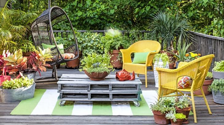macetas terrazas modernas palet mueble