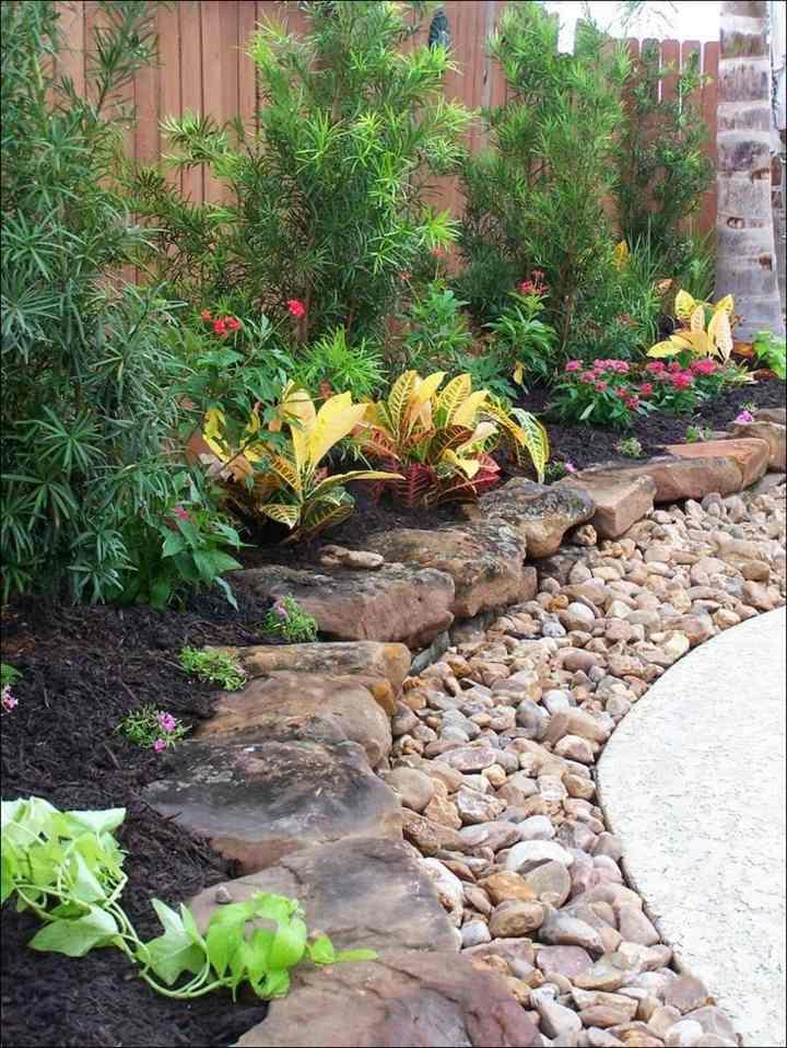 piedras para jardin muro conceptos madera
