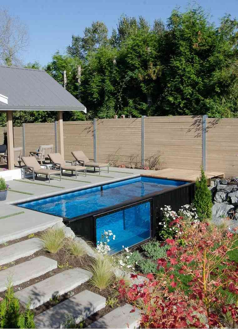 piscina diseño diferente-patios-acogedores