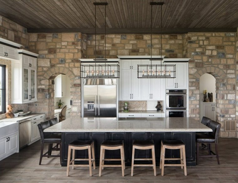 revestimiento cocina-paredes-piedra-isla-grande