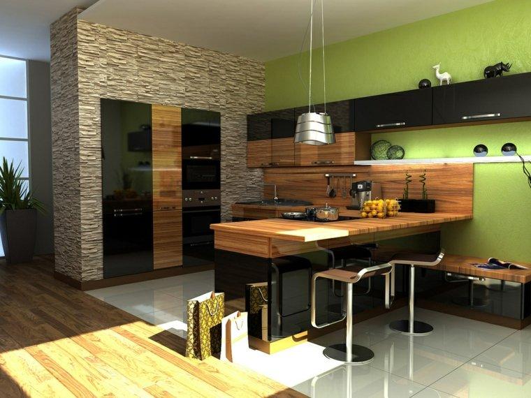 revestimiento cocina-paredes-piedra-madera-diseno