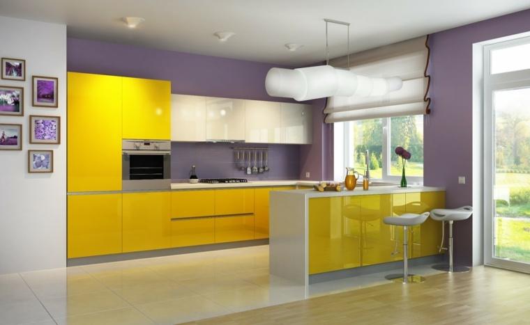 revestimiento cocina-paredes-pintura-diseno-amarillo-purpura