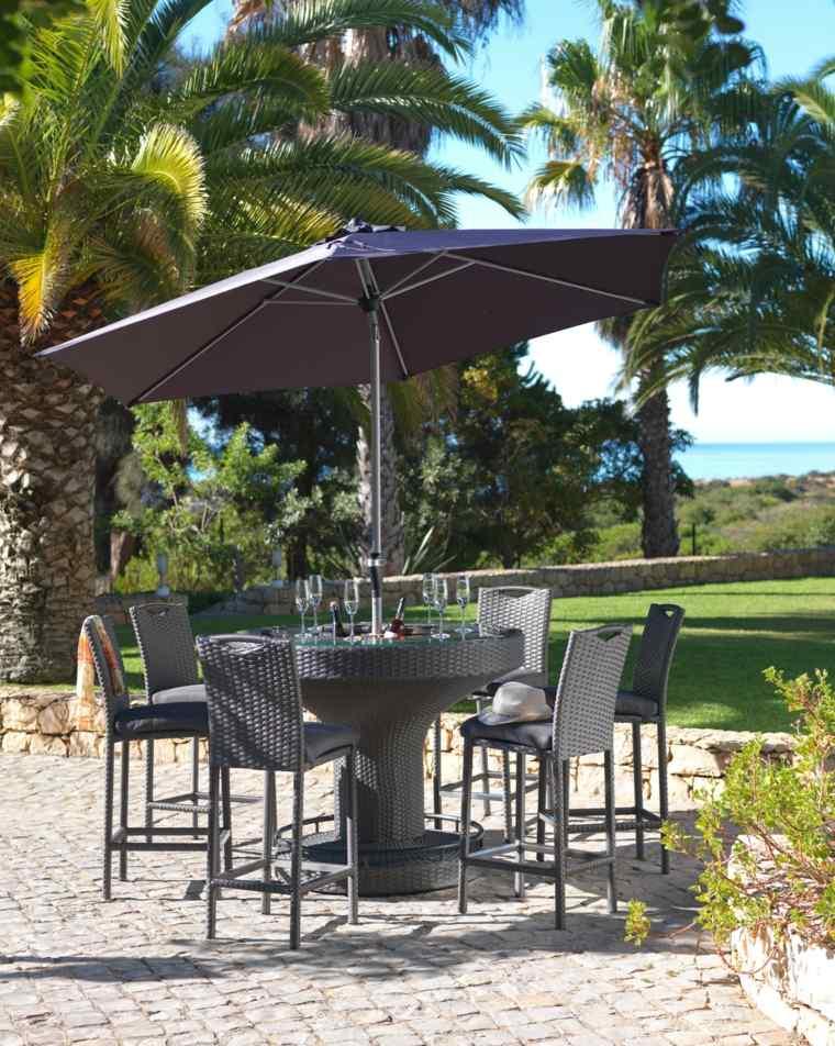 sombrillas jardín-terraza-color-negro-diseno