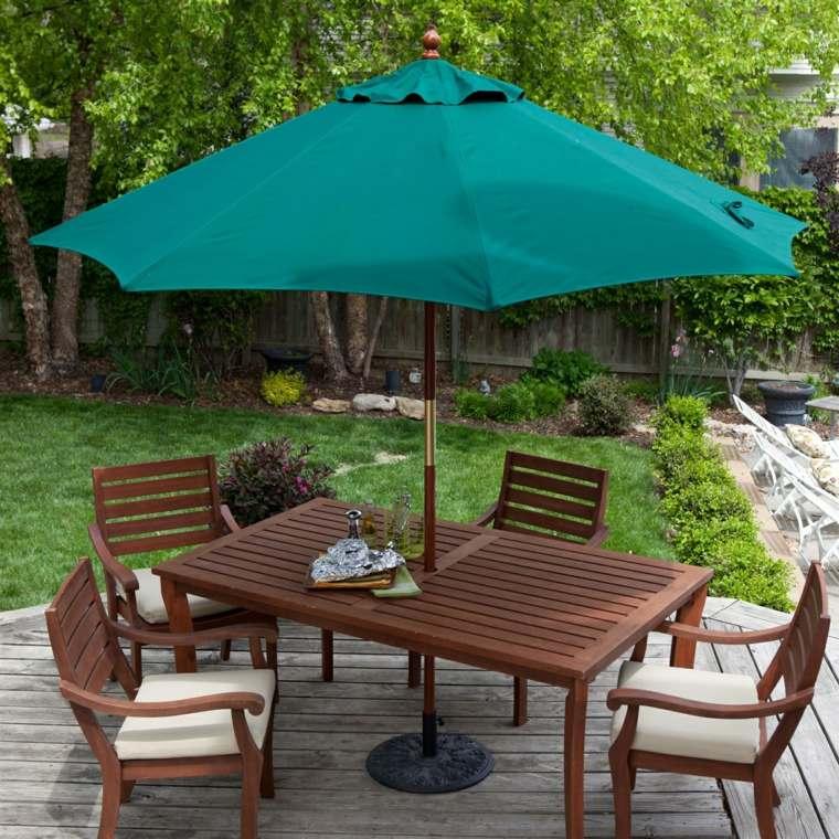 sombrillas jardín-terraza-color-verde-moderno