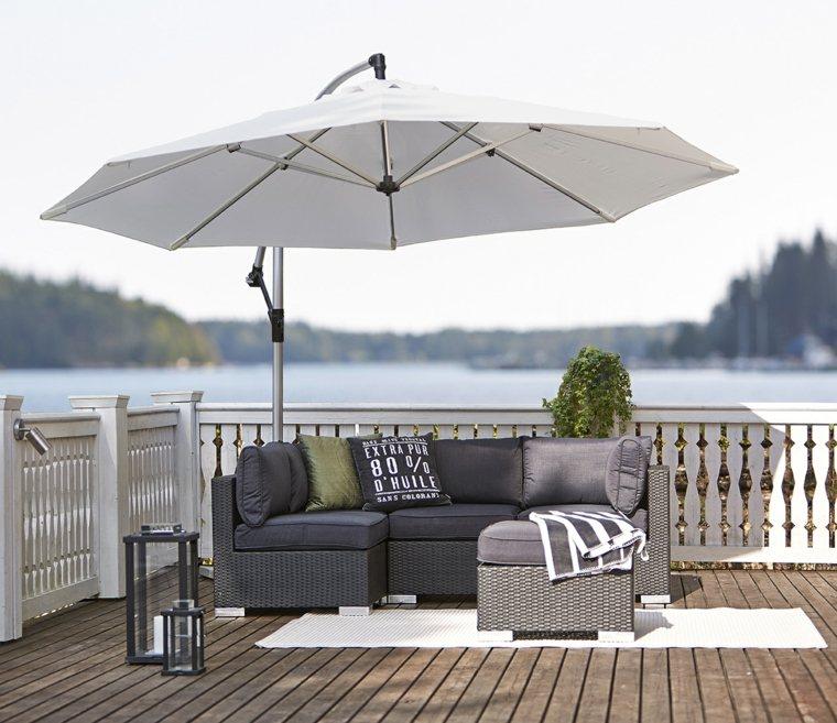 sombrillas jardin terraza estilo muebles color gris