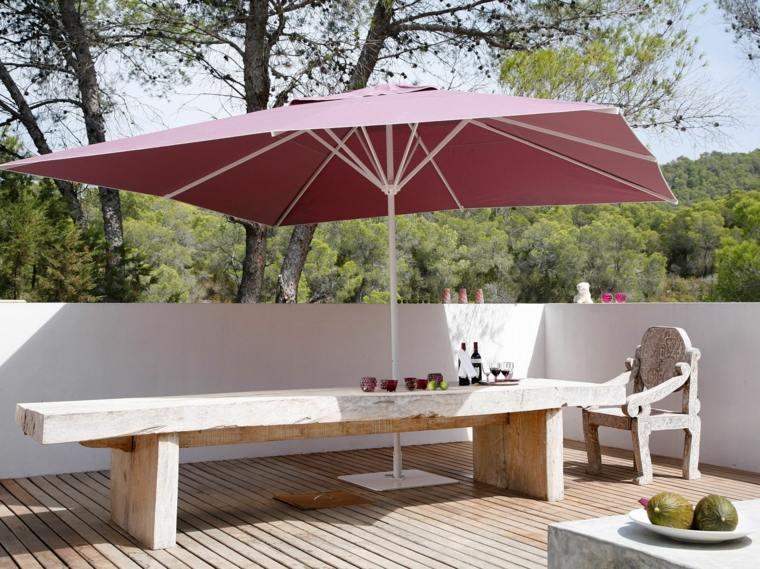 sombrillas jardín-terraza-mesa-rectangular-madera