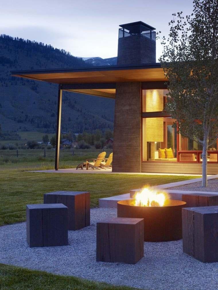 asientos para chimenea de jardín