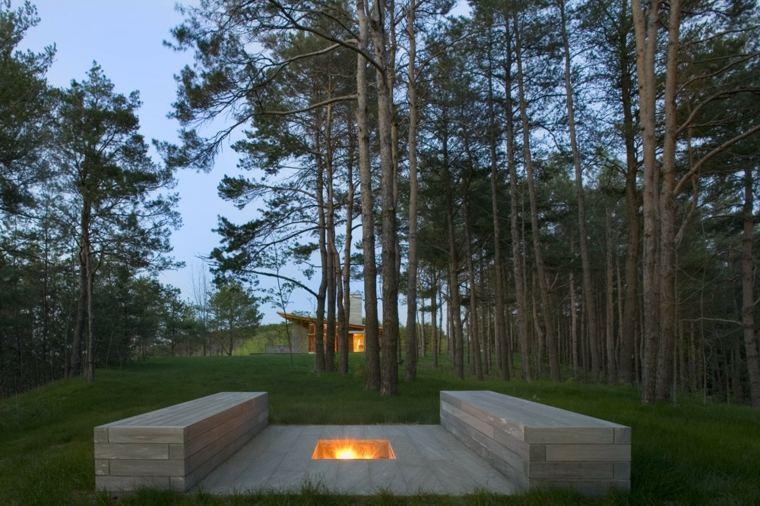 originales asientos para chimeneas de jardín