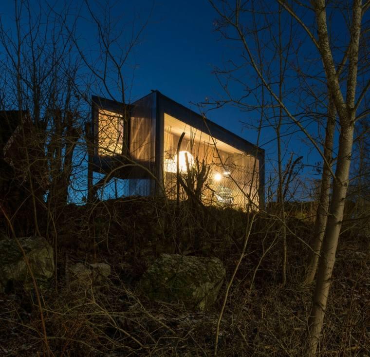 fachada de cabaña moderna