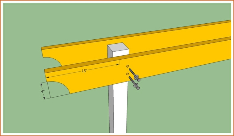 Hacer una pergola de madera simple contra la pared sobre - Como construir una pergola de madera ...