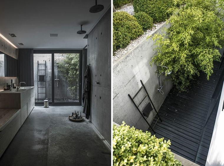 ducha diseño suelos concreto grises modernos