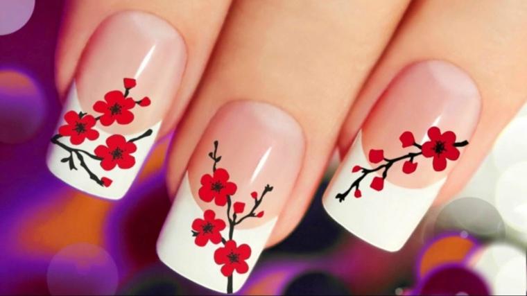 esmalte de unas flores