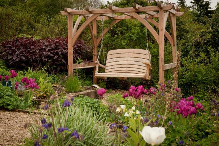 columpios de jardín de madera