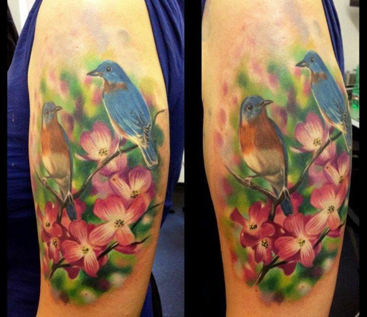 ramas flores coloridas brazos