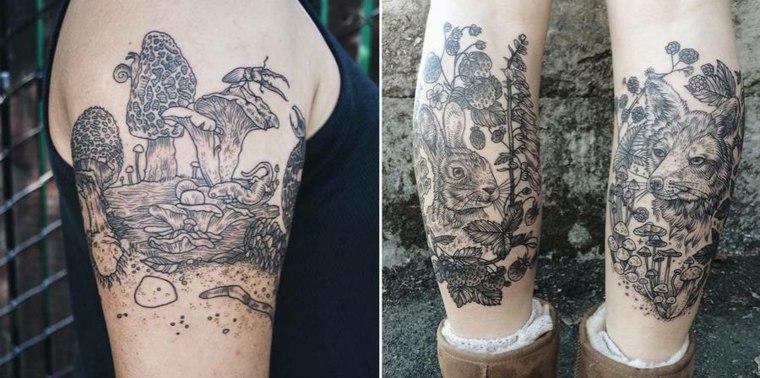 tatuajes brazo bosque