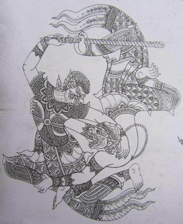tatuajes-tailandeses-guerrero-hanuman