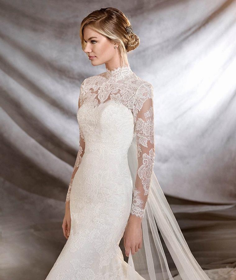 vestidos para bodas-cuello-alto-pronovias