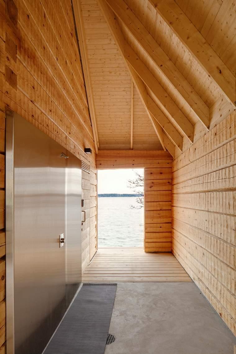 vista hacia exterior cada sauna