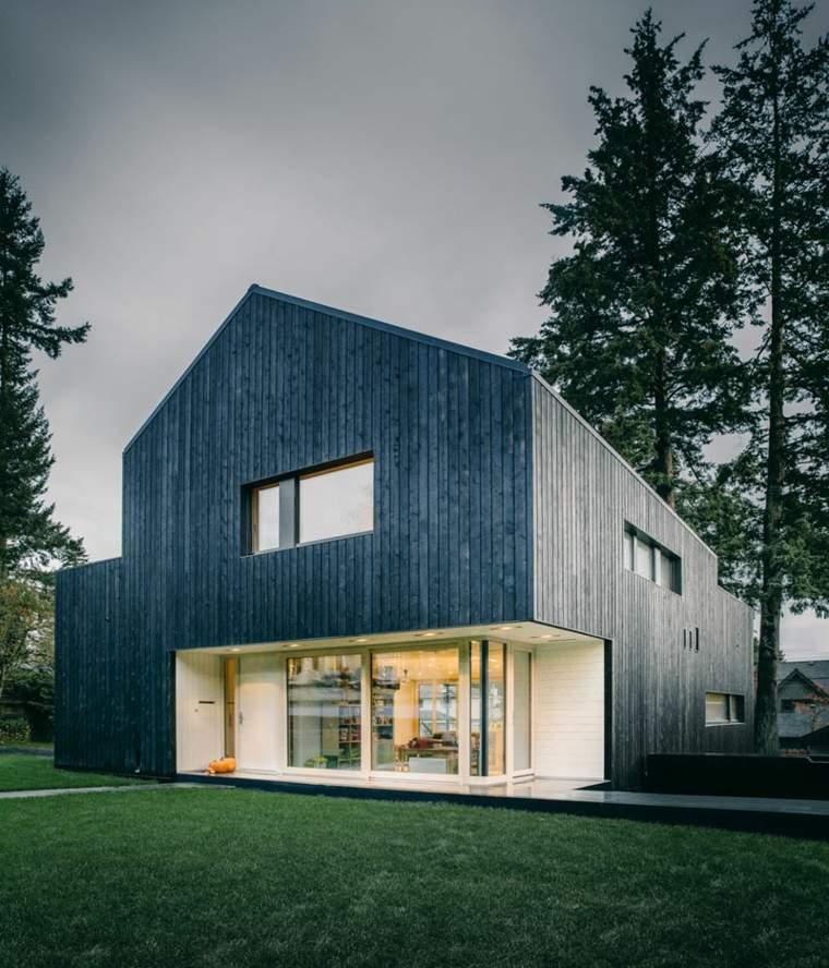 Ejemplos de casas modernas con fachadas de color negro - Paneles madera exterior ...