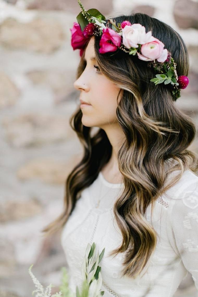 boda retro pelo suerto flores cabeza