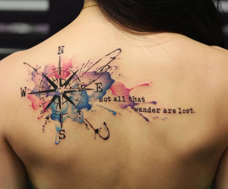 compas ideas tatuajes colores texto