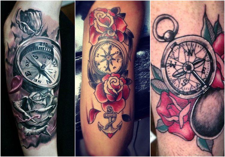 compas tatuaje rosas tres modelos