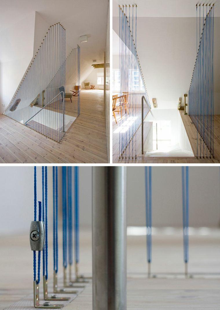 Barandillas de cuerda para escaleras de estilo moderno - Barandillas para escaleras interiores modernas ...
