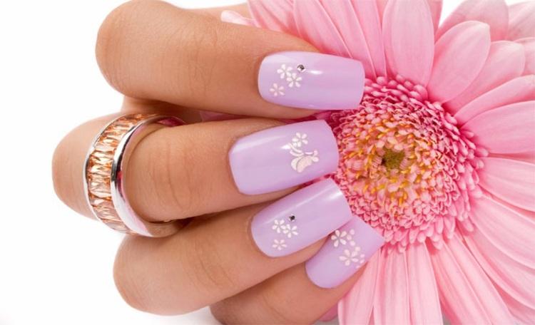 decoracion de uñas flores naturales