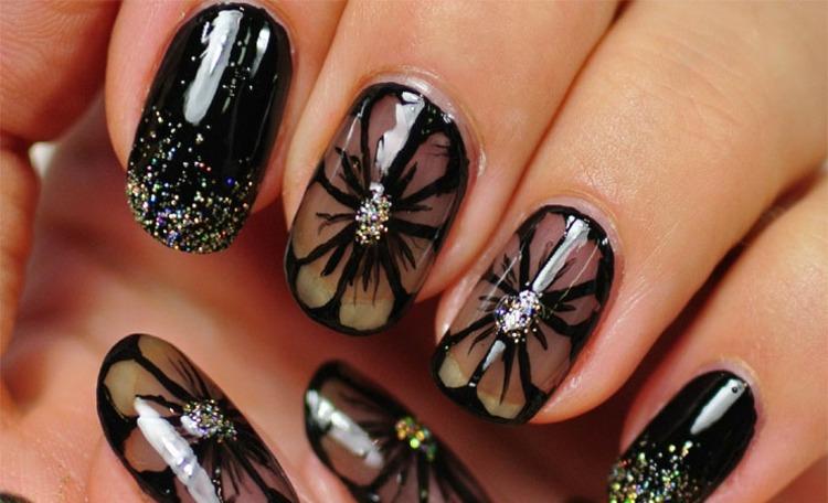 decoracion de uñas negro colores fuentes